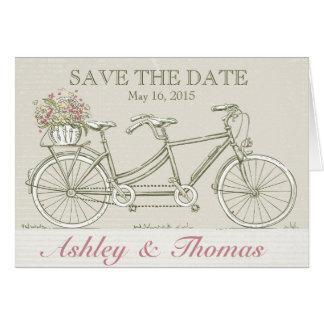 Save the Date Vintage Tandem Bicycle Card