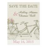 Save the Date Vintage Tandem Bicycle Postcard