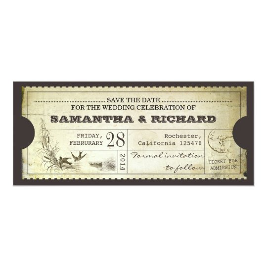 save the date vintage ticket typography invitation