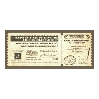 save the date vintage tickets design 4x9.25 paper invitation card