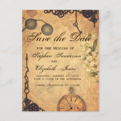 Save The Date Vintage Victorian Steampunk Announcement Postcard