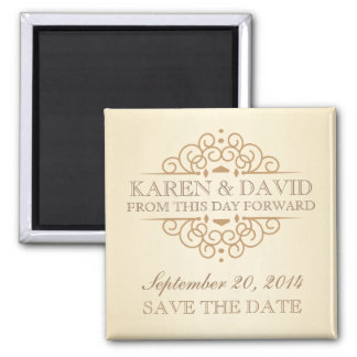 Save the Date Vintage Victorian Wedding Scrolls 2 Inch Square Magnet