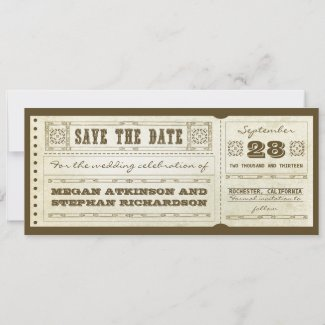 save the date vintage wedding tickets