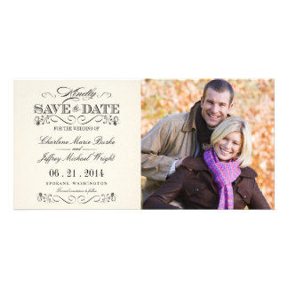 Save the Date Vintage White Weddings Customized Photo Card
