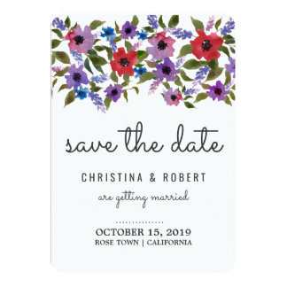 Save The Date Watercolor Floral Bunch Wedding Card