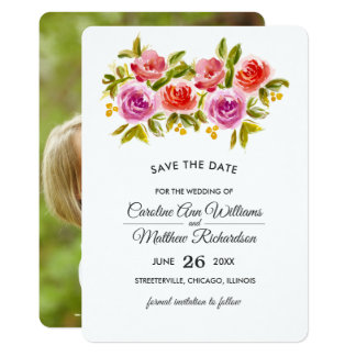 Save the Date. Watercolor Floral Photo Cards