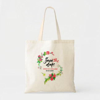 Save The Date Watercolor Pink Flowers Tote Bag