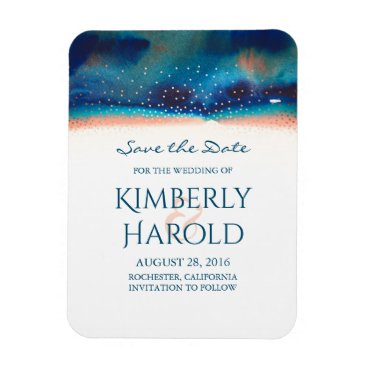 Beach Themed Save the Date Watercolor Turquoise Peach Confetti Magnet