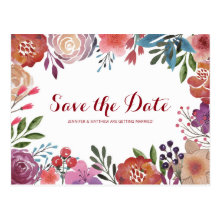 Watercolor Floral Save the Date Wedding Postcards