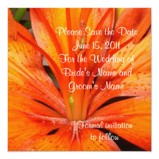 Save the date Wedding announcement Asian lily