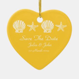 Save The Date wedding beach theme announcement Ceramic Ornament