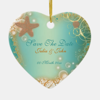 Save The Date wedding beach theme announcement Christmas Tree Ornaments