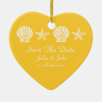 Save The Date wedding beach theme announcement Ornaments