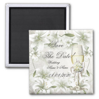 Save The Date Wedding Beige Green Champagne Magnet