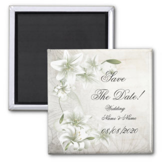 Save The Date Wedding Beige Green Floral Flower Magnet