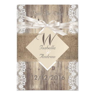 Save The Date Wedding Beige White Lace Wood Burlap Magnetic Card