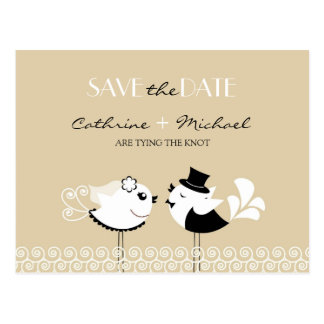 Save The Date Wedding Birds Postcard