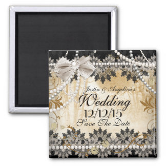 Save The Date Wedding Black Cream Beige 2 Inch Square Magnet
