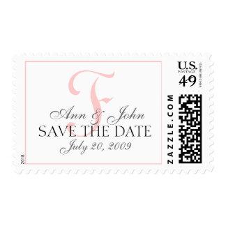 Save the Date Wedding Bride Groom Monogram F Stamp