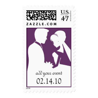 Save the Date Wedding Bride & Groom Plum Postage