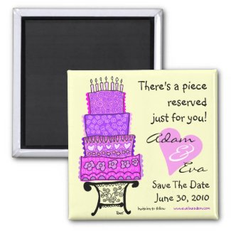 Save The Date Wedding Cake Magnet magnet