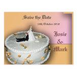 Save the Date wedding cake postcard