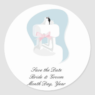 Save the Date Wedding Cake Sticker