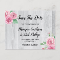 Save The Date Wedding Card Flower Pink Roses