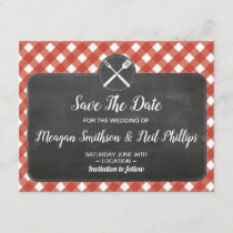 Save The Date Wedding Card Red Gingham Chalk BBQ