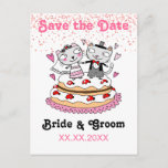 Cute Bride & Groom Cats Dancing On Cake Wedding Save The Date Postcard (Visit shop to see more paperie & gifts in this theme. Type