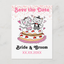 save the date wedding cats announcement postcard