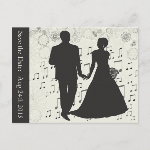 Save the Date Wedding Couple Music Notes Postcard