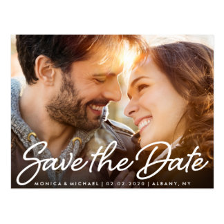 Save the Date Wedding Cute Couple Photo Postcard