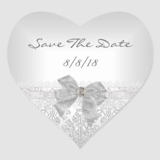 Save The Date Wedding Damask White Silver Bow Heart Sticker