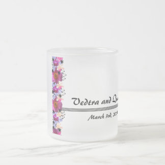 Save The Date Wedding Day Floral Mug! Frosted Glass Coffee Mug