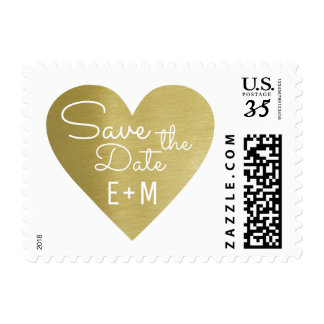 save the date, wedding faux gold love heart postage