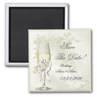 Save The Date Wedding Gold Cream Pearl Floral Rose 2 Inch Square Magnet