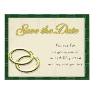 Save the Date Wedding Gold Rings Emerald Pearl Card