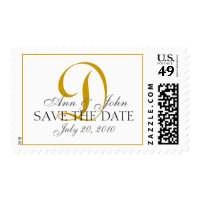 Save the Date Wedding Gold White Monogram D Stamp