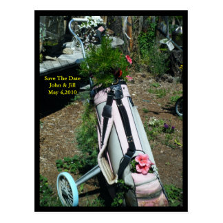 Save The Date Wedding Golf Cart Flower Postcard
