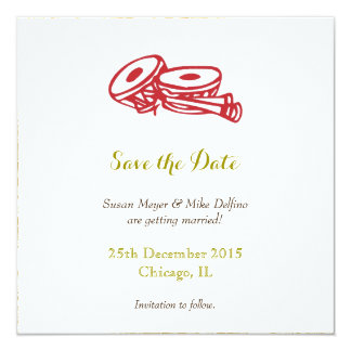 Save the date wedding invitation card red gold
