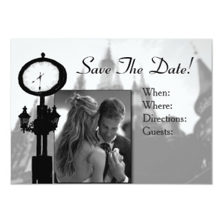 Save The Date Wedding Invitation Formal b & W mail