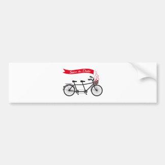 Save the date, wedding invitation tandem bicycle bumper sticker