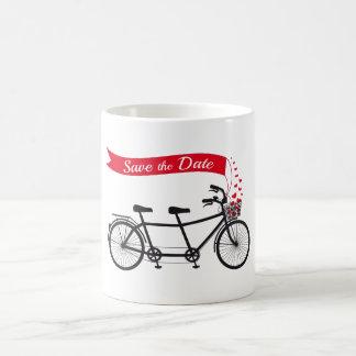 Save the date, wedding invitation tandem bicycle coffee mug