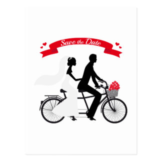 Save the date, wedding invitation tandem bicycle postcard