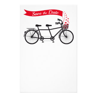 Save the date, wedding invitation tandem bicycle stationery