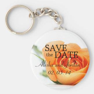 Save the Date Wedding Key Chain Coral Orange Rose