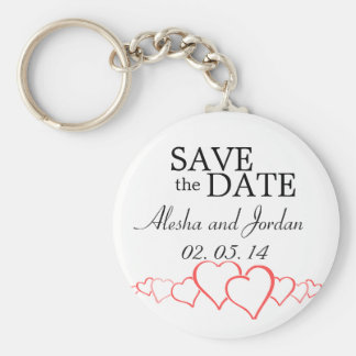 Save the Date Wedding Key Chain Red White Hearts