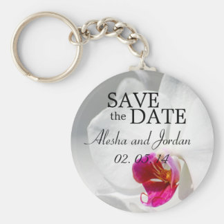 Save the Date Wedding Key Chains Pink White Orchid