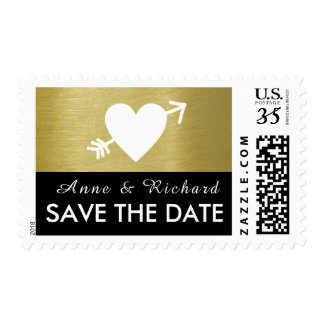 save the date, wedding love heart with arrow postage